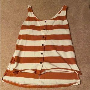 Burnt orange and white tank top